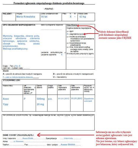 Przykład formularza dla specjalisty